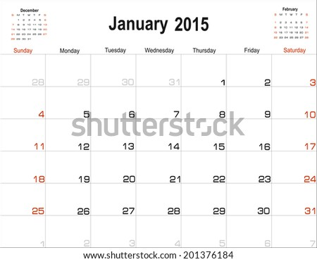 Vector planning calendar January 2015 - stock vector