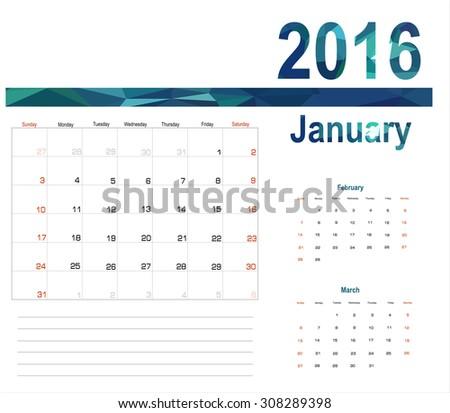 Vector planning calendar January 2016 - stock vector
