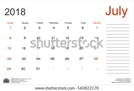 Vector planning calendar July 2018 Monthly scheduler. Week starts on Sunday.
