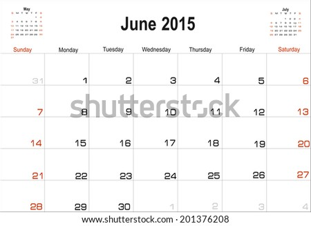 Vector planning calendar June 2015 - stock vector