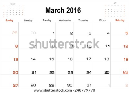 Vector planning calendar  March 2016 - stock vector