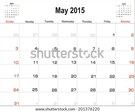 Vector planning calendar May 2015 - stock vector