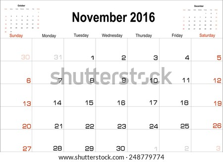 Vector planning calendar  November 2016 - stock vector