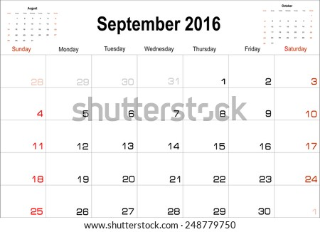 Vector planning calendar  September 2016 - stock vector