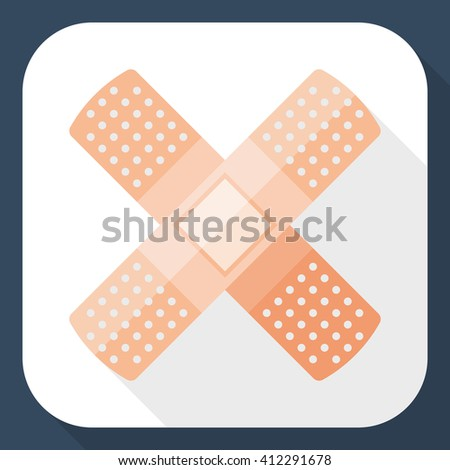 Vector Plaster icon. Adhesive Plaster or Sticking-Plaster simple icon in flat style with long shadow - stock vector