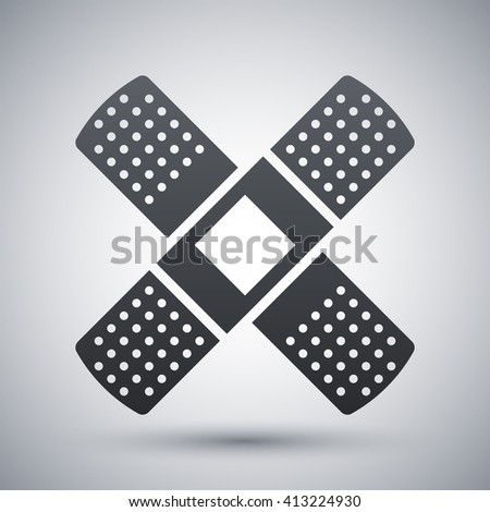 Vector Plaster icon. Adhesive Plaster or Sticking-Plaster simple icon on a light gray background - stock vector