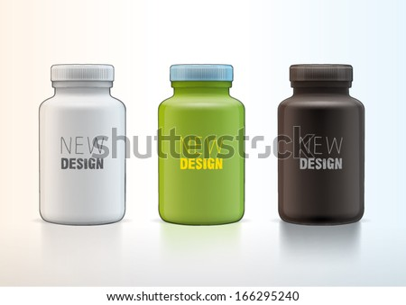 Vector plastic medical container for new design - stock vector