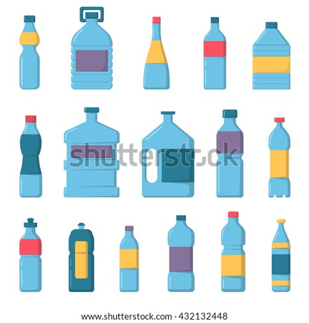 Vector plastic water bottles set. Water bottles plastic, blue drink container and transparent, health, mineral, beverage water bottles set. Refreshment full clear water bottles collection. - stock vector