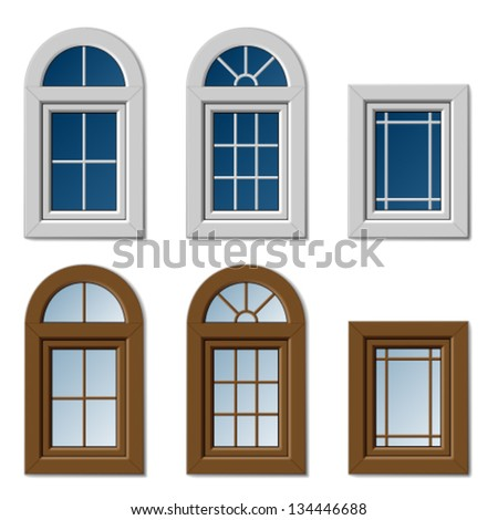 vector plastic windows white brown - stock vector