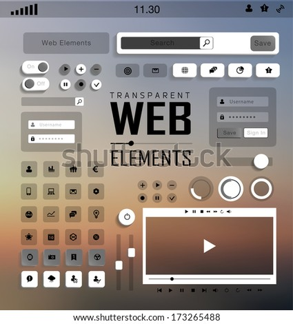 Vector plat transparent Web, mobile Elements, icons. Buttons and Labels, blur background