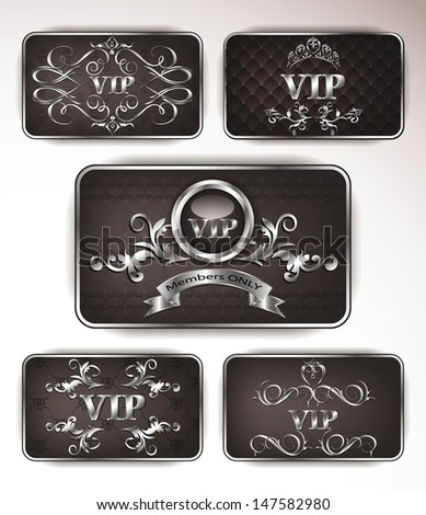 Vector platinum vip cards with floral ornament