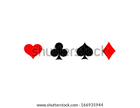 Vector Playing Card Suit Icon Symbol Set - stock vector