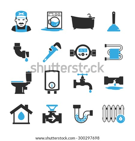 Vector plumbing icons set - stock vector