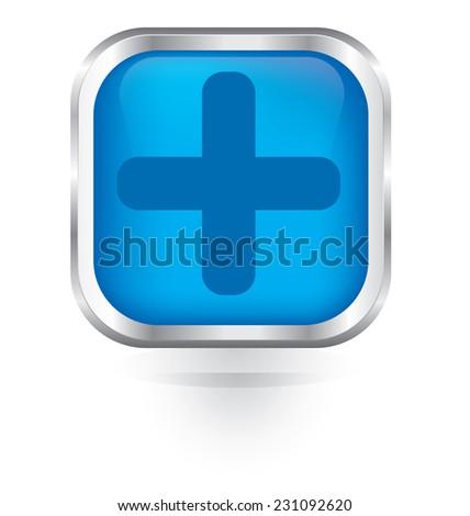 Vector plus icon glossy button  - stock vector