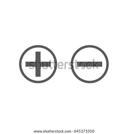 Vector Plus Minus Icon Set Add Stock Vector 645371050 - Shutterstock