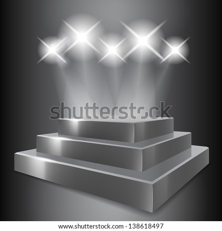 Vector Podium with Spotlights
