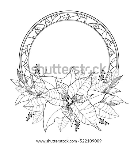 Vector Poinsettia Or Christmas Star Leaves And Ornate Round Frame Isolated On White Outline
