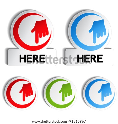 Vector pointer rounded stickers with gesture hand