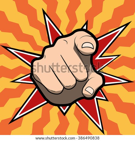 Vector pointing finger or hand pointing icon isolated on colored background