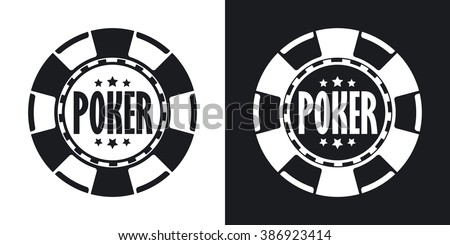 Vector poker chip icon. Two-tone version on black and white background
