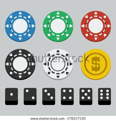 Vector poker chips and dice, flat style - stock vector