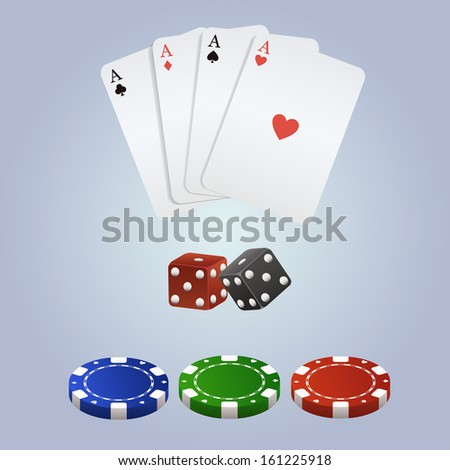 Vector poker set with playing cards, dices and chips