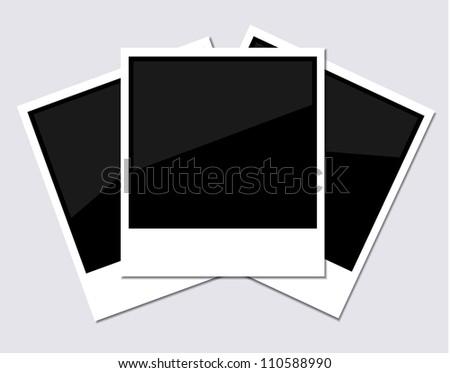 Vector polaroid photo on gray background. Eps 10 - stock vector