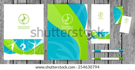 Vector Pole Dance School Corporate Identity and Stationery Templates Set on Wood Background. Document, Book Cover, Flyer, Business Card and Pen.