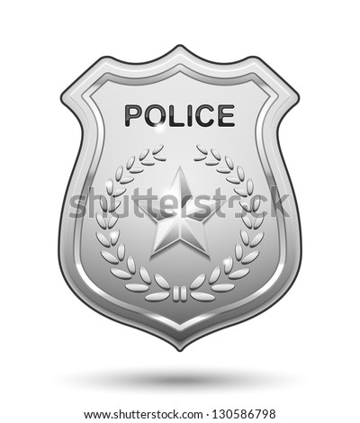 Vector Police Badge isolated on white background - stock vector