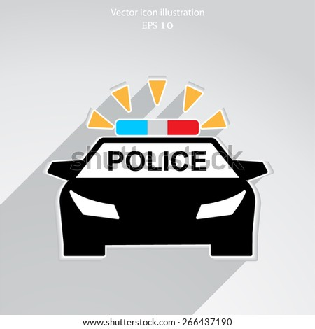 Vector police car flat icon illustration. - stock vector