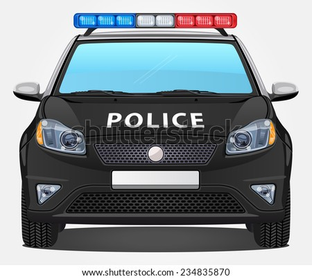 Vector Police Car #1 - Front view - stock vector