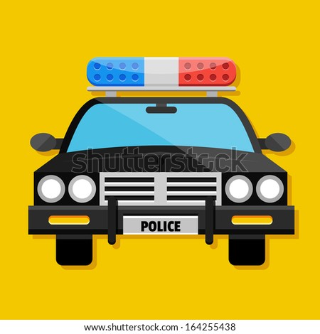 Vector Police Car Icon - stock vector
