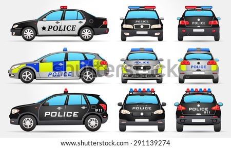 vector police cars side front back view