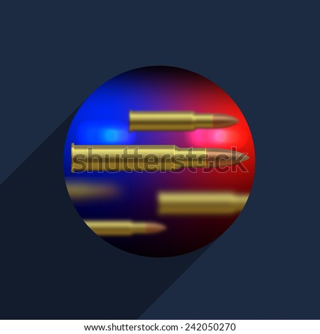 Vector police with a shot background. Circle icon - stock vector