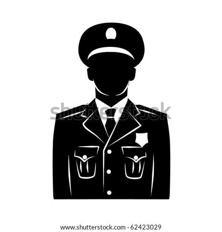 Vector policeman silhouette - stock vector