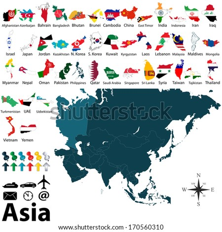 Vector political maps with flags of Asia on white background - stock vector