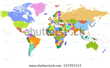 Vector Political World Map Countries Highlighted Stock Vector - World map showing seas