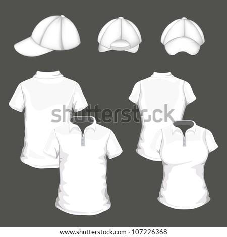Vector polo shirt and design template and baseball cap - stock vector