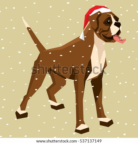 Vector Polygon Dog Collection Boxer In Christmas Santa Hat
