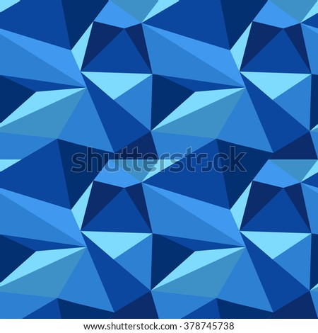 vector polygon seamless pattern in blue colors