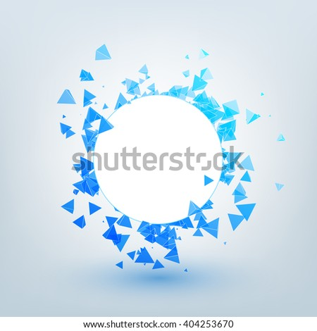 Vector polygonal background. Illustration of abstract shapes with white circle. Background design for banner, poster, flyer. - stock vector