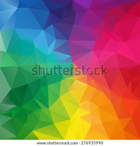 vector polygonal background with irregular tessellations pattern - triangular design in full spectrum colors - rainbow - stock vector