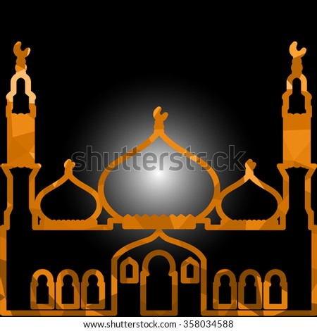 Vector Polygonal Crystal Mosque /Ramadan Kareem Colorful Mosaic Mosque. - stock vector