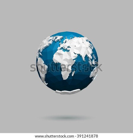 Vector polygonal globe icon. - stock vector