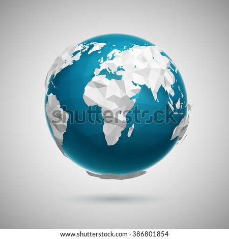 Vector polygonal globe icon of the world. Low poly 3d illustration. - stock vector