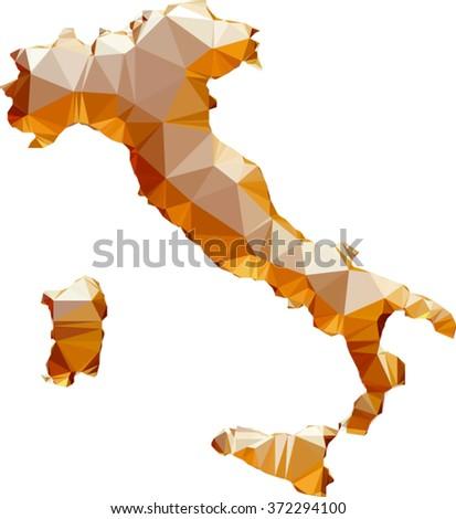 vector polygonal golden map of Italy - stock vector