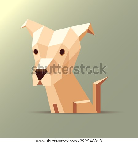Vector polygonal illustration of a light white and orange beige origami dog