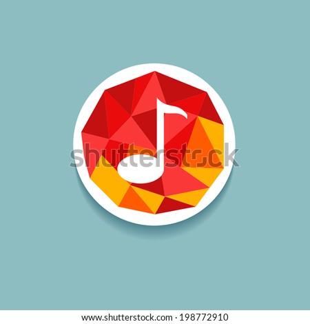Vector polygonal musical button - stock vector