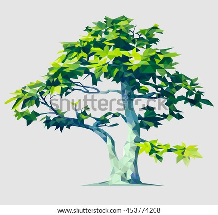 Vector polygonal tree illustration. Low poly style. Design element. Polygon stylized, based on a real tree.
