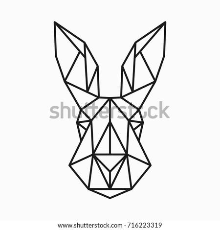 Vector Polygonal Triangular Illustration Of Animal Head Origami Style Outline Geometric Rabbit